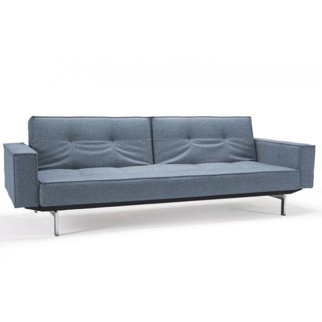 Inside 75 Innovation Living Canapé Splitback Chrome avec accoudoirs tissu convertible lit 115 200 cm tissu Mixed Dance Blue