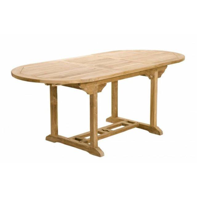 Inside 75 Table repas extensible de jardin ovale Fun 150 200 cm en teck