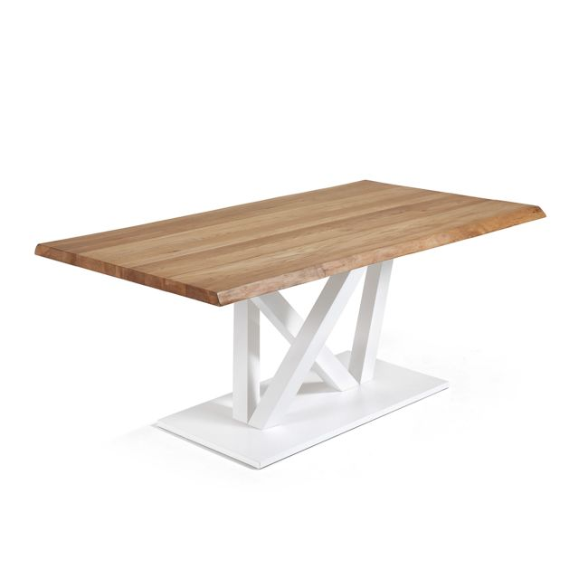 Kavehome Table Nyc 180x100, epoxy blanc plateau chêne