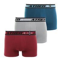 Athena - Lot de 3 boxers PULSE prune gris bleu