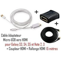Cabling - Cable Adaptateur micro usb vers hdmi Mhl pour telephone samsung galaxy S4 - Samsung Infuse 4G - galaxy Nexus - Premium qualité - Blanc + coupleur Hdmi + cable Hdmi 15M