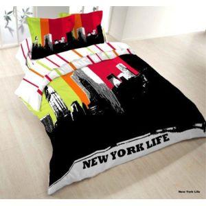 les douces nuits de ma housse couette 220x240 2 taies new york life noir rouge blanc. Black Bedroom Furniture Sets. Home Design Ideas