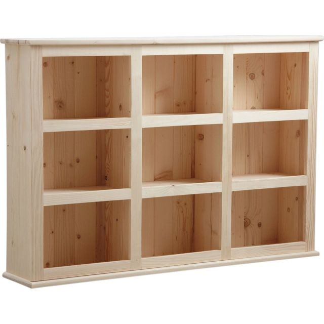 aubry gaspard biblioth que en bois brut 9 cases finition brute 26cm x 130cm x 90cm pas. Black Bedroom Furniture Sets. Home Design Ideas