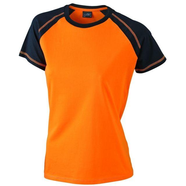 0947cb3e353a James   Nicholson - T-shirt bicolore pour femme Jn011 - orange et noir -  pas cher Achat   Vente Tee-shirts