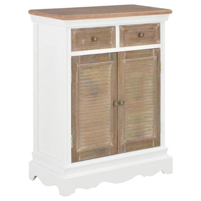 Joli Armoires & meubles de rangement gamme Katmandou Buffet Blanc 60 x 30 x 80 cm Bois massif