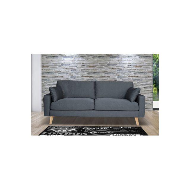 Canapé 3 places fixe en tissu, pieds bois - coloris gris anthracite