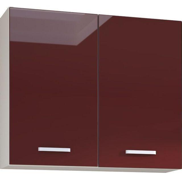 Comforium Meuble haut de cuisine design 80 cm avec 2 portes coloris blanc mat et rouge laqué