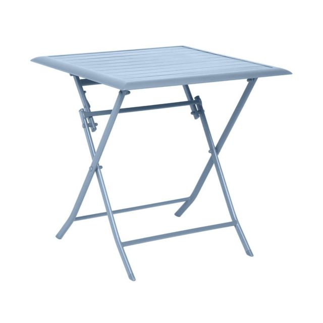 Hesperide table de jardin carr e azua 2 places bleu orage for Table jardin bleu