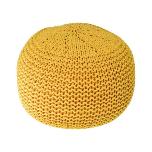 zons yane pouf tricot d40xh35cm moutarde jaune pas cher achat vente tabourets rueducommerce. Black Bedroom Furniture Sets. Home Design Ideas