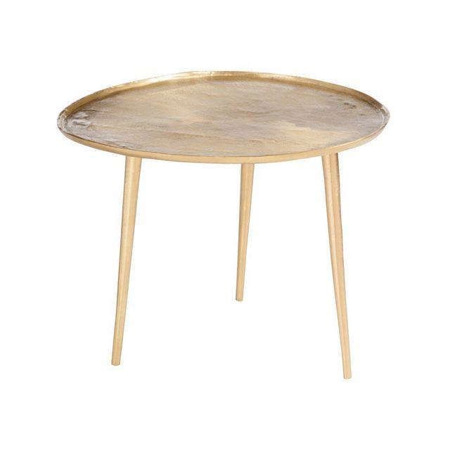 Tousmesmeubles - Table d'appoint Métal Or Taille M - Bisco Jaune - 55cm x 45cm x 60cm