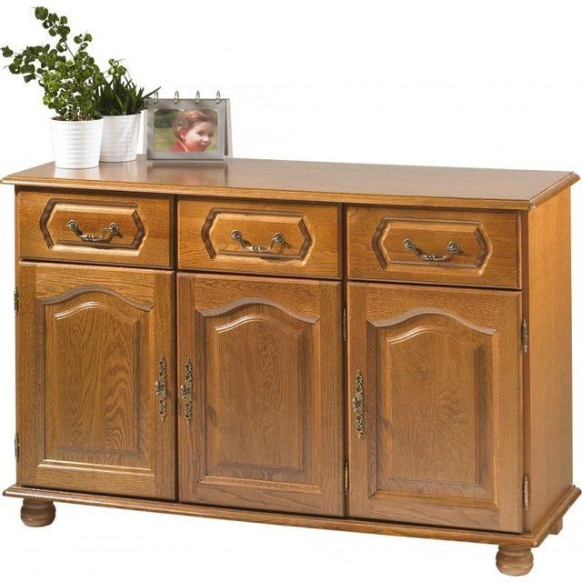 beaux meubles pas chers buffet bas ch ne 3 portes 3 tiroirs pas cher achat vente buffets. Black Bedroom Furniture Sets. Home Design Ideas