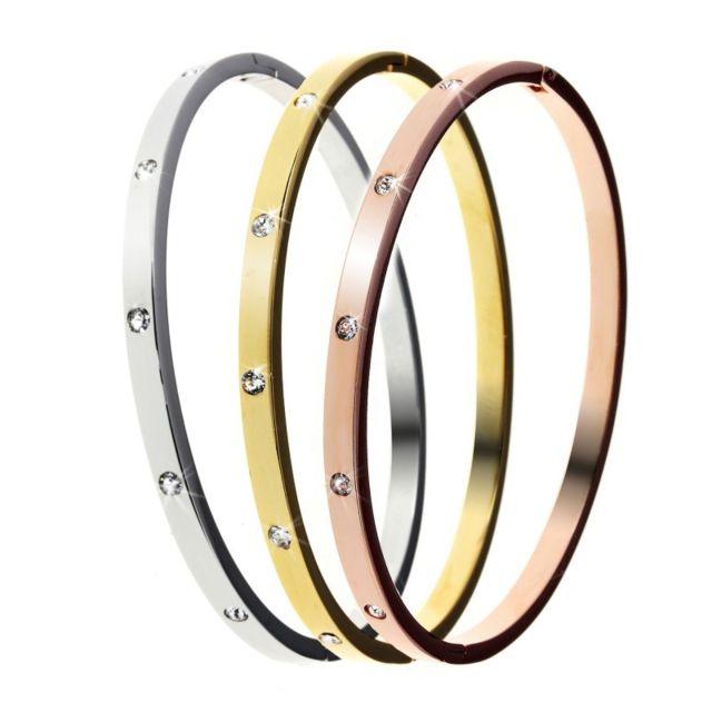 Sc Crystal 3 Bracelets en acier inoxydable ornés de Cristaux Swarovski