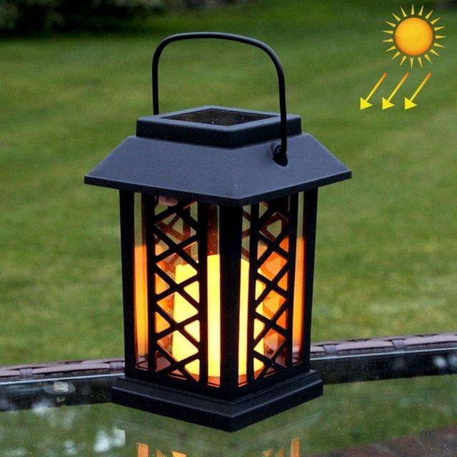 Led Avec panneau solaire noir Lampe de jardin de bougie de puissance avec  0.2W amorphe de silicium