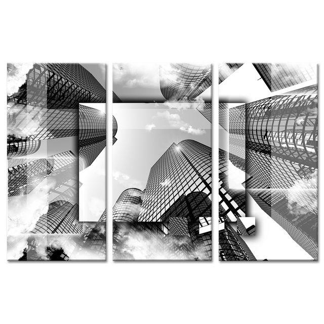 declina tableau design buildings en noir et blanc tableau triptyque