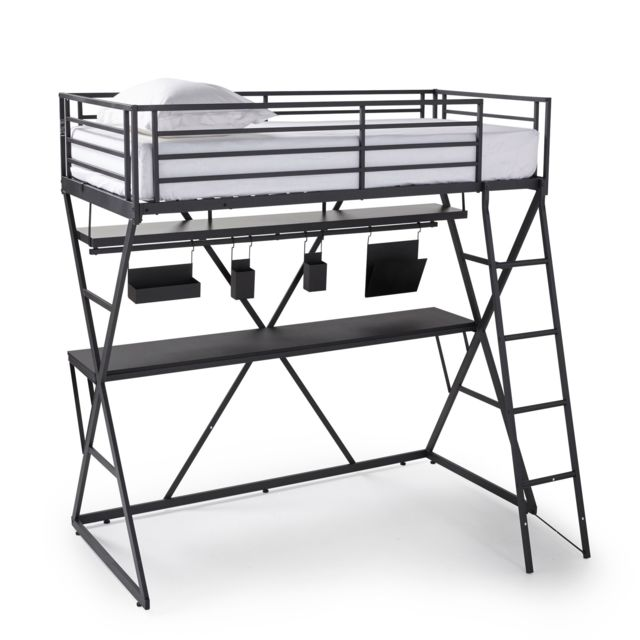 alin a iks lit mezzanine 90x200cm avec bureau pas cher. Black Bedroom Furniture Sets. Home Design Ideas