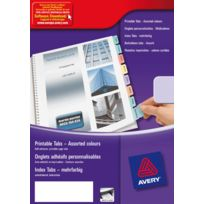 Avery - 05412501 - onglet adhesif repositionnable et imprimable - paquet de 4 planches a4