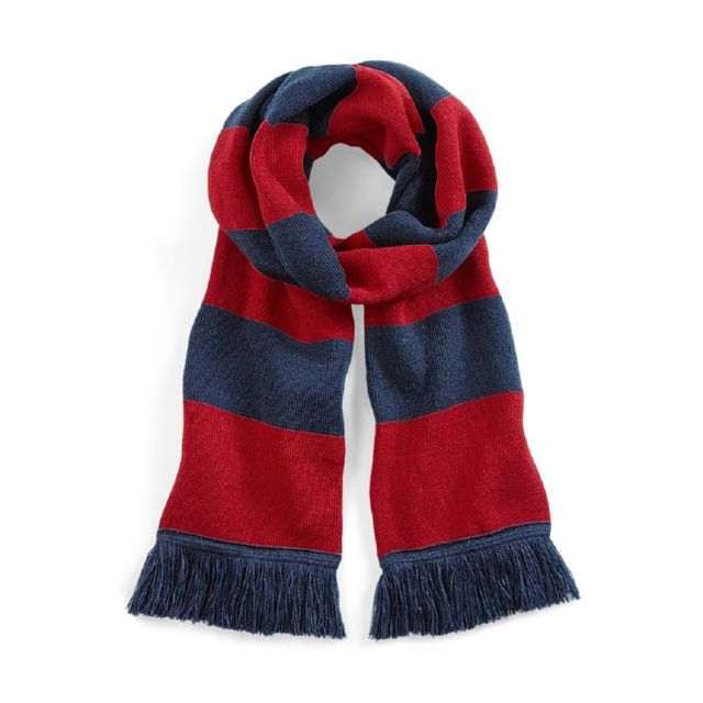 8c50a331bafb2 Beechfield - Longue écharpe rayée - B479 - bleu marine et rouge ...