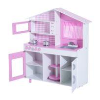 HOMCOM - Cuisine pour enfants en bois jeu jouet d'imitation grand réalisme multi-équipement blanc et rose neuf 06