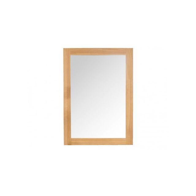MARQUE GENERIQUE - Miroir de salle de bain en bois teck TIKOVO ...