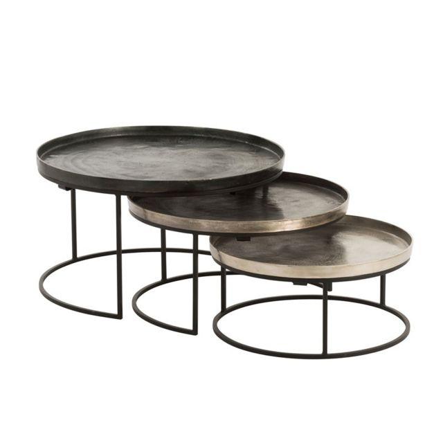 Tousmesmeubles Tables gigognes rondes Noir/Doré - Aiva