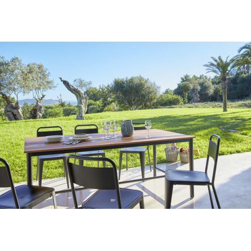 CARREFOUR - Table de jardin Indus - Métal et bois - Marron - pas ...