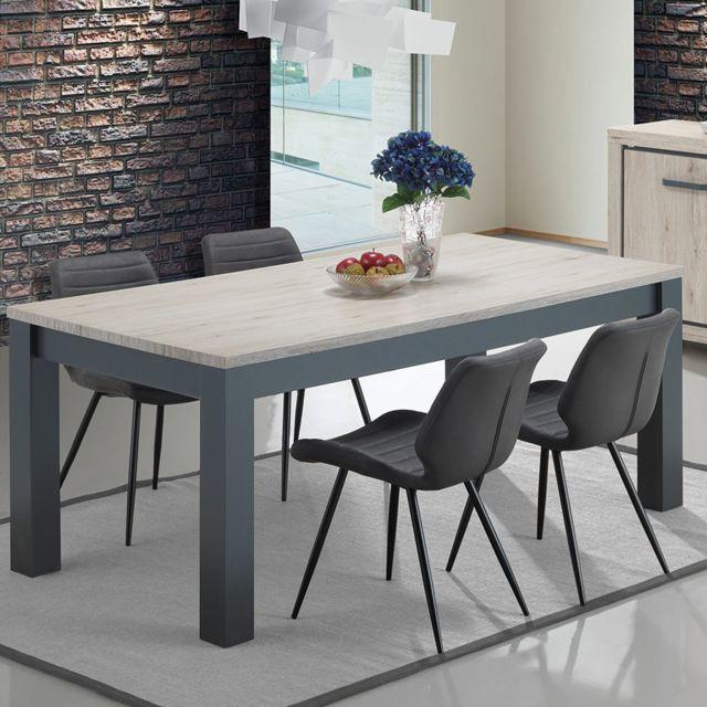 Kasalinea Table 170 cm couleur chêne naturel et gris Elorane