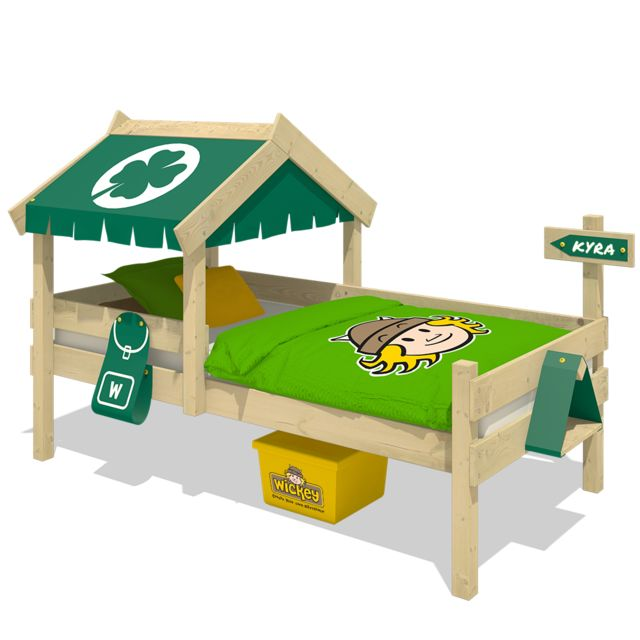 WICKEY Lit en bois CrAzY BuddY Lit cabane avec toit