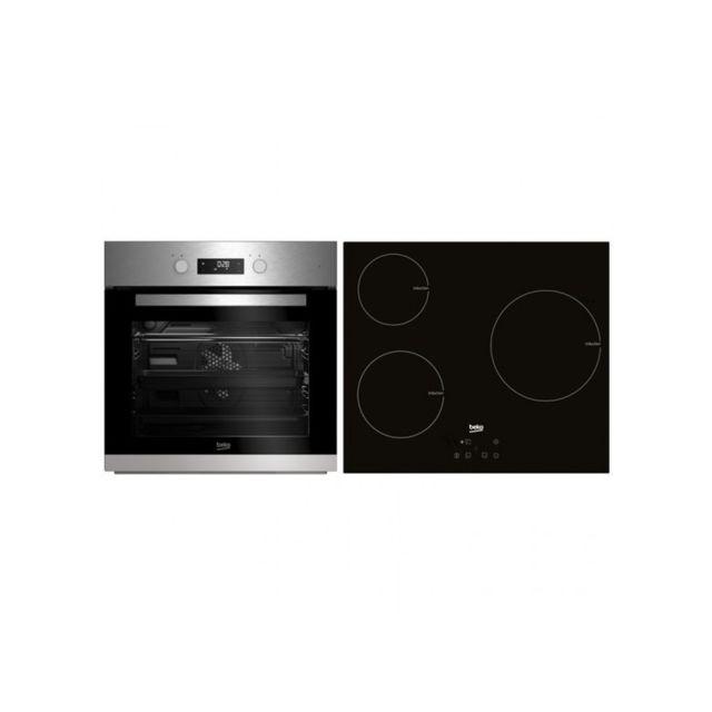 Beko Combiné four et plaques vitro-céramiques Bse22341X 65 L Touch Control 5900W Acier inoxydable Noir