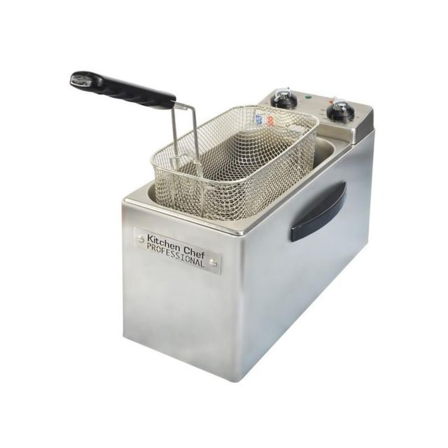 Kitchen Chef Kitchenchef Friteuse Professionnelle 2500W Inox 1,2kg/4L Minuterie 30lin Th 190C° Zone froide démontable Filtrage automa