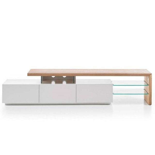 Inside 75 Meuble Tv design Alrik 3 tiroirs structure laquée blanc mat plateau décor chêne