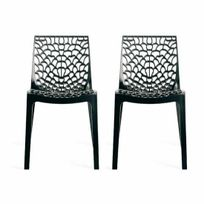 Declikdeco - Lot de 2 Chaises Design Anthracite Gruyer Opaque