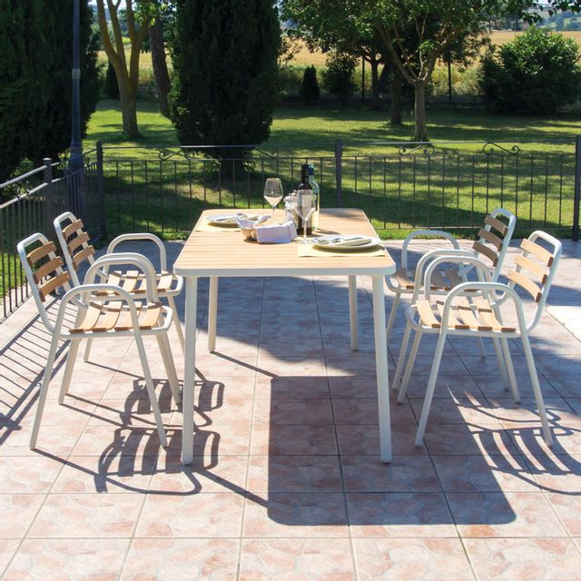 Oasi By Emu - Table de jardin rectangulaire en aluminium et hêtre huilé longueur 160cm Hata - Blanc 0cm x 0cm x 0cm