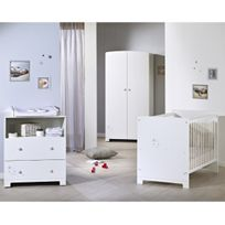 Lit bébé LITTLE STAR - 60 x 120 cm - Blanc + Armoire bébé LITTLE STAR - Blanc + Commode bébé LITTLE STAR - Blanc