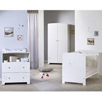 TEX BABY - Lit bébé LITTLE STAR - 60 x 120 cm - Blanc + Armoire bébé LITTLE STAR - Blanc + Commode bébé LITTLE STAR - Blanc
