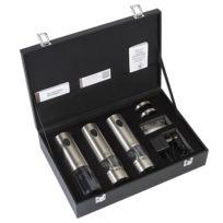 PEUGEOT - 24307 - tire bouchon, moulin à sel et à poivre électriques rechargeables 20cm inox Coffret Elis Trio