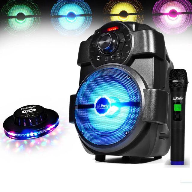 Party Sound Enceinte Karaoke Mobile batterie 180W à Led Usb/BLUETOOTH/FM + Micro sans-fil + Effet Ovni