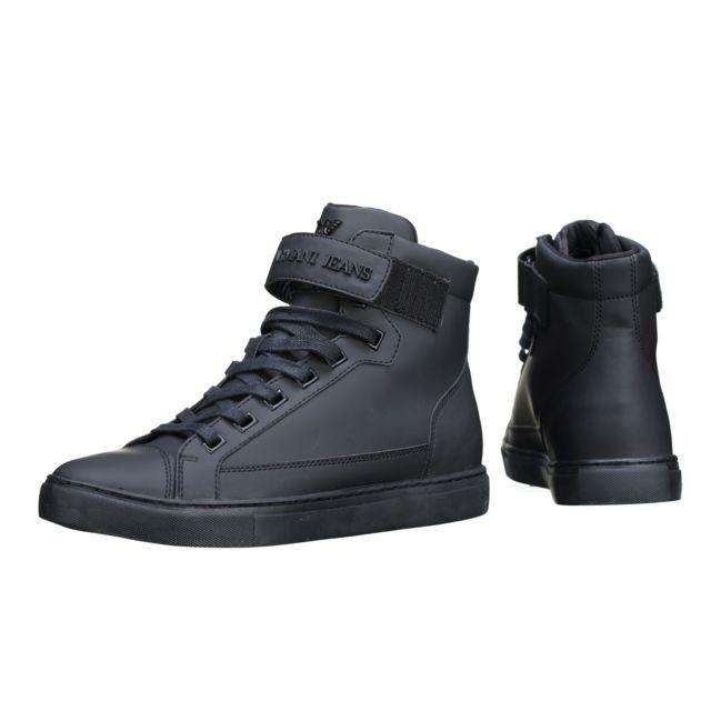 dd0828ac59f Armani - Basket Jeans 935043 - 7a402 00020 Noir - pas cher Achat   Vente Baskets  homme - RueDuCommerce