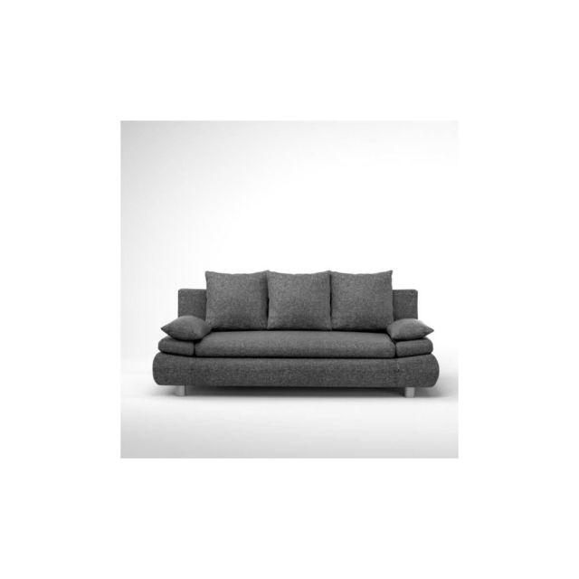 Sans Marque Naho Canape Droit Convertible 3 Places + Coffre De Rangement - Tissu Gris - Contemporain - L 205 X P 97 Cm