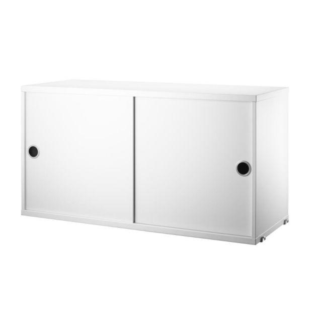 String Armoire à portes coulissantes - 30 cm - blanc