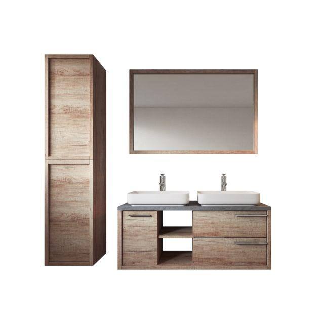 Meuble de salle de bain Vermont 120cm lavabo nature wood – Armoire de  rangement Meuble lavabo miroir