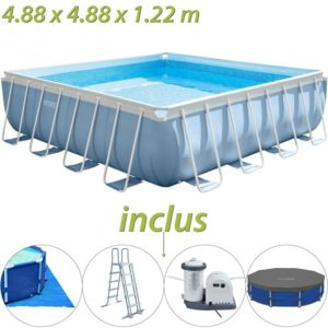 Intex piscine tubulaire carr e prism frame 488 x 488 x for Piscine carree intex