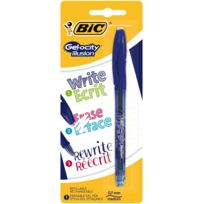 Bic - Stylo roller Gelocity illusion rechargeable - Bleu - Pointe moyenne