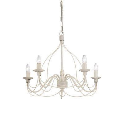 boutica design lustre corte blanc vieilli 5x40w ideal lux 005881 pas cher achat vente. Black Bedroom Furniture Sets. Home Design Ideas