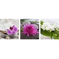 Ariane - Toiles 3 images Zen fleurs violette 42x14 cm set 3 images 14 14cm