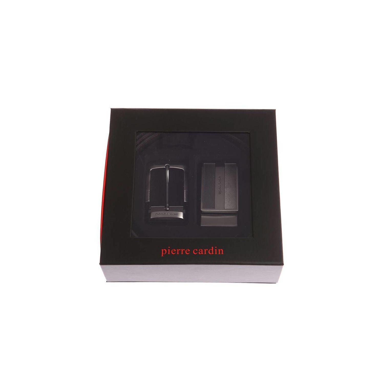fafea86784d1 PIERRE CARDIN- Coffret ceinture en cuir réversible noir et marron foncé à  boucles interchangeables