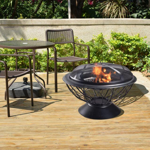 PEAKTOP - Braséro chauffage extérieur jardin acier foyer bois 76cm ...