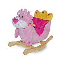 No Name - Lion à bascule en peluche douce - Modèle fauteuil rose - Dès 2 ans