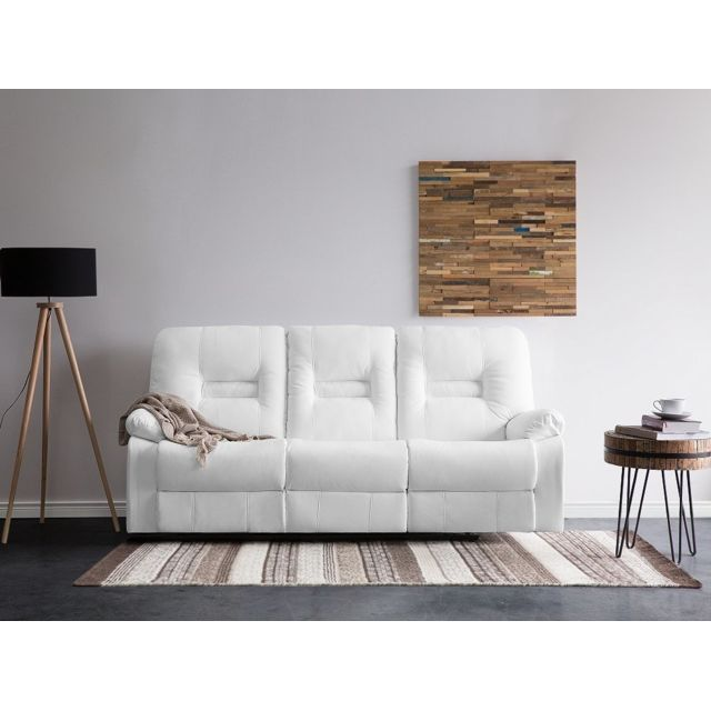 Beliani Canapé 3 places en simili cuir blanc avec position réglable Bergen