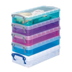 really useful box bo te de rangement plastique 0 55 l couleurs assorties lot de 5 pas cher. Black Bedroom Furniture Sets. Home Design Ideas