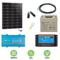 Victron - Kit solaire 50w autonome mono + convertisseur 230v